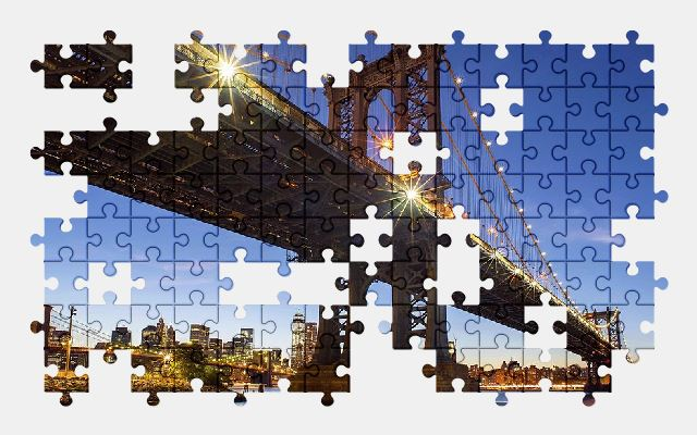 free jigsaw puzzle online architecture,bridge,city,manhattan,new-york
