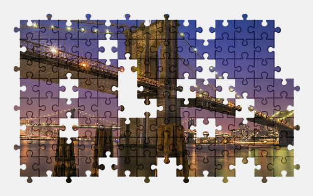 free jigsaw puzzle online architecture,bridge,city,new-york,usa,night-city
