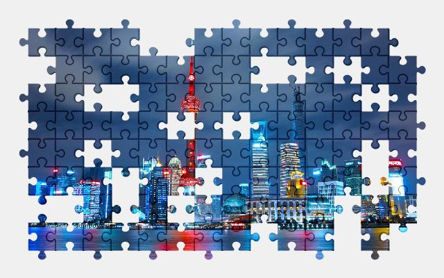 free jigsaw puzzle online architecture,buildings,city,light,shanghai