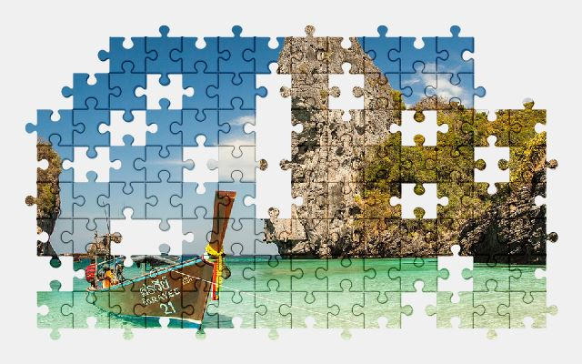 free jigsaw puzzle online beach,boat,island,ocean,nature