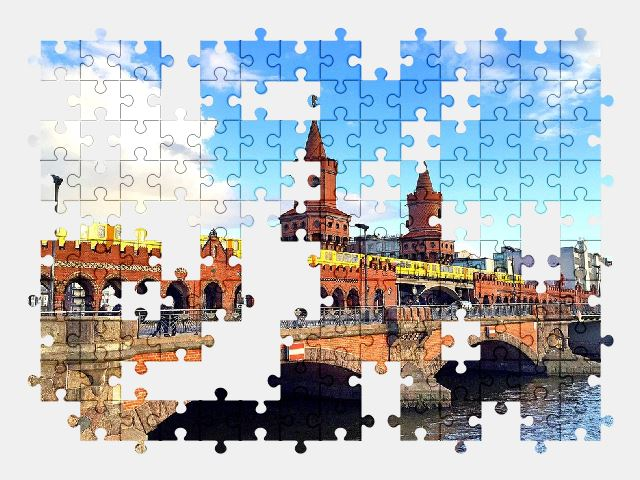 free jigsaw puzzle online berlin,bridge,river,sky,city,architecture,building