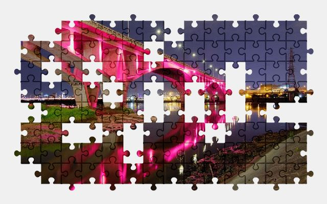 free jigsaw puzzle online bridge,river,night