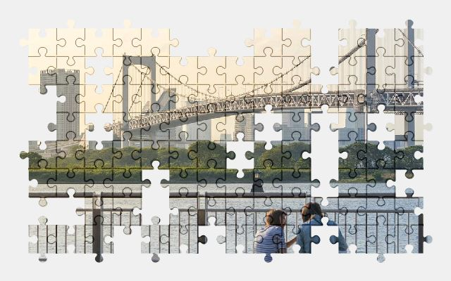 free jigsaw puzzle online bridge,river,sunset,people,city