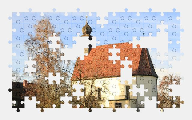 free jigsaw puzzle online church,village,building