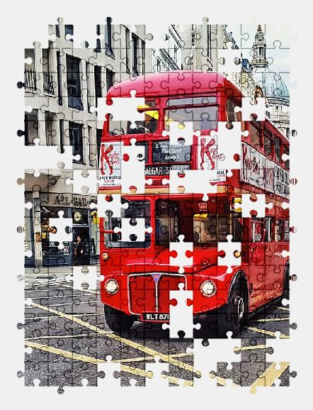 free jigsaw puzzle online bus,london,city,street