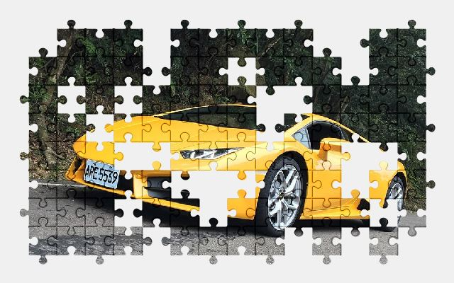 free jigsaw puzzle online car,lamborghini,yellow,road,sports-car