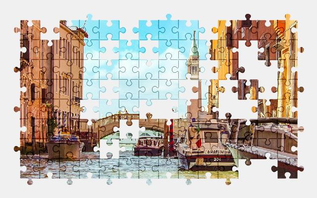 free jigsaw puzzle online police,venice,bridge,italy,city,architecture