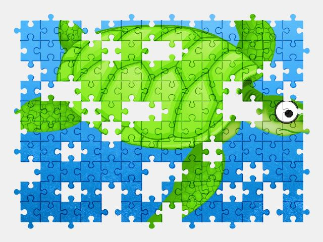 free jigsaw puzzle online cartoon,green,sea,turtle,animal