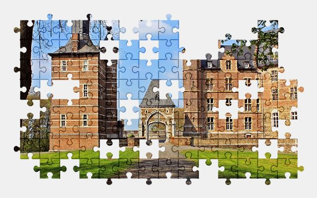 free jigsaw puzzle online castle,park,meadow,trees,old,architecture
