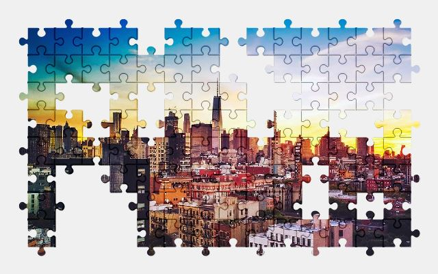 free jigsaw puzzle online chicago,illinois,sunset,sky,clouds,sunrise,city,buildings