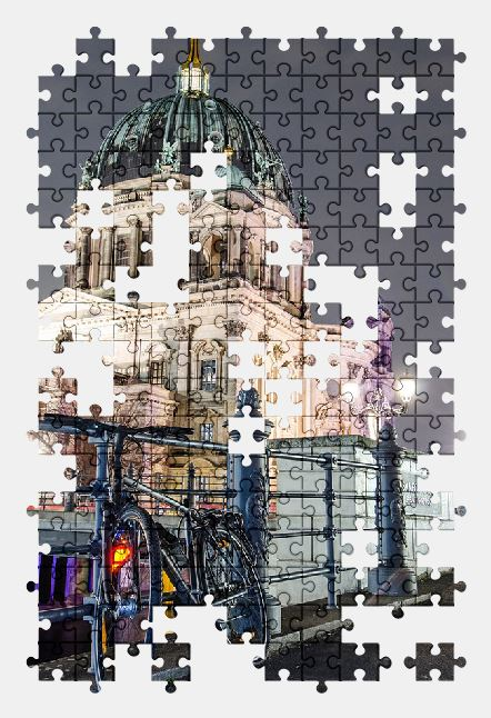 free jigsaw puzzle online church,berlin,bike,architecture,city,germany