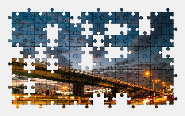 free jigsaw puzzle online clouds,sunset,night,street,sky