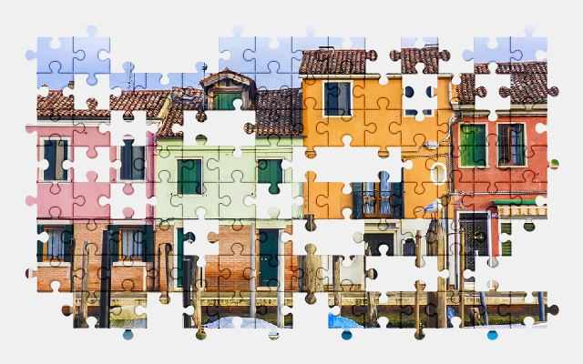 free jigsaw puzzle online houses,boat,venice,italy