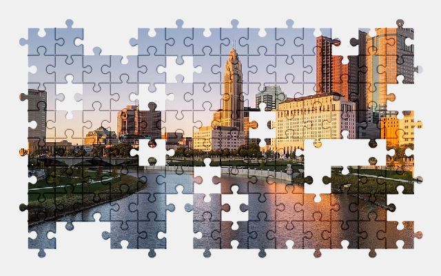 free jigsaw puzzle online ohio,city,buildings,river,bridge,architecture,sky
