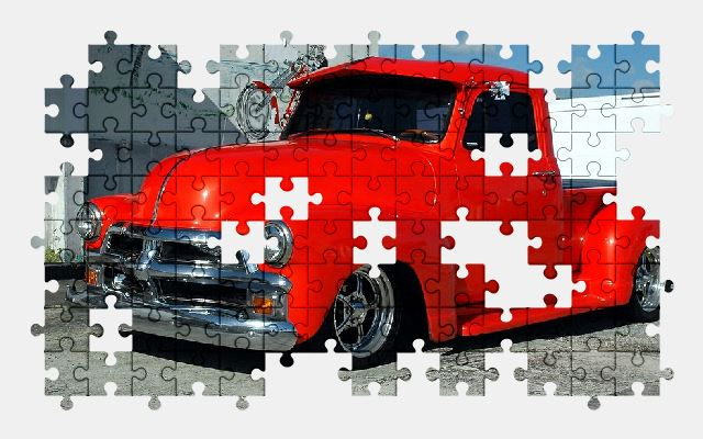 free jigsaw puzzle online red,pickup,truck,vehicle,auto,automobile,car