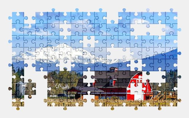free jigsaw puzzle online farm,landscape,mountains,nature