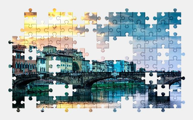 free jigsaw puzzle online sunset,river,italy,bridge,city,architecture,buildings