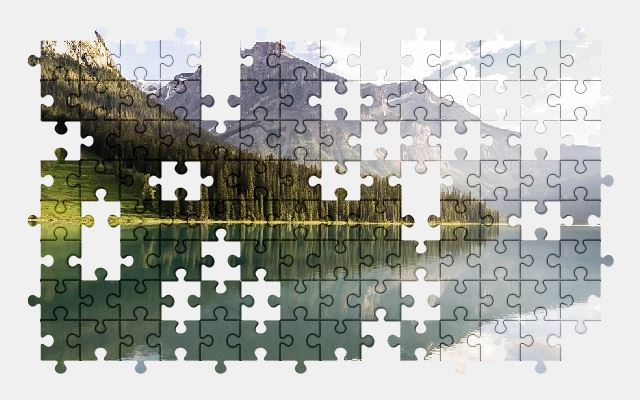 free jigsaw puzzle online forest,lake,landscape,mountain,nature,mountains