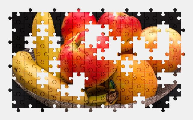 free jigsaw puzzle online fruit,apple,banana,orange,fruits,food