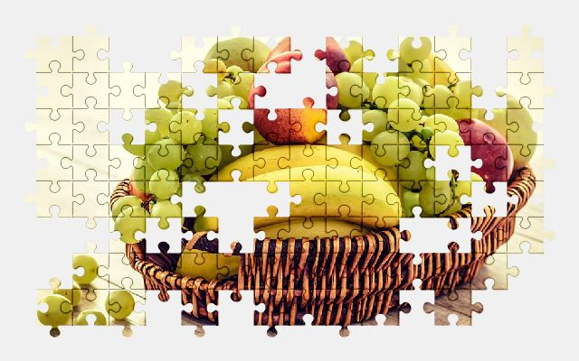 free jigsaw puzzle online fruit,basket,grapes,apple