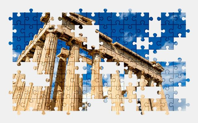 free jigsaw puzzle online greece,sky,ruins,building,architecture