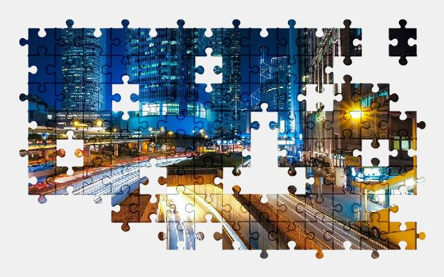 free jigsaw puzzle online hong-kong,city,buildings,night-city,night