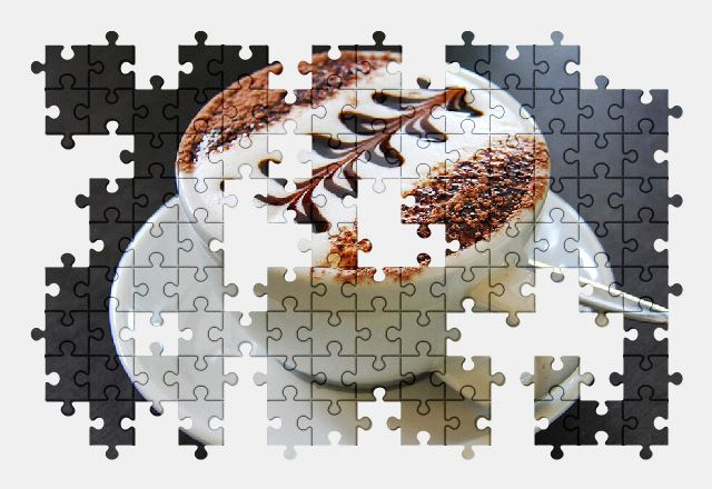 free jigsaw puzzle online cappuccino,coffee,coffee-cup