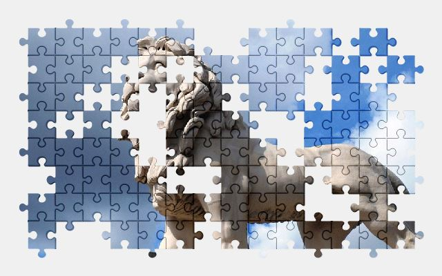 free jigsaw puzzle online lion,statue,sky,sculpture,figure,animal
