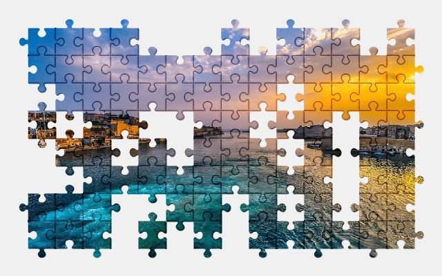 free jigsaw puzzle online malta,sunset,sky,sea,beautiful