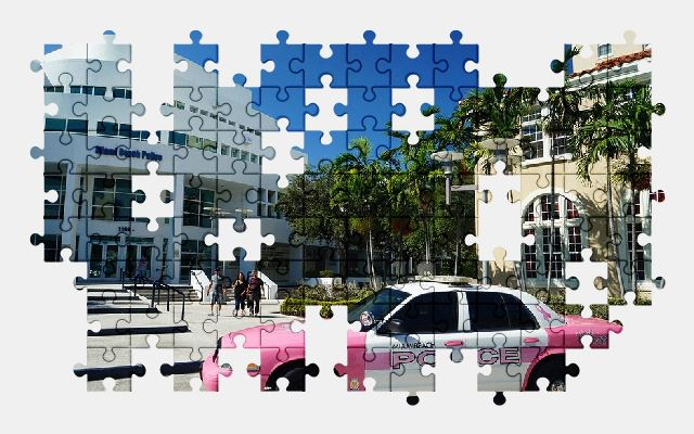 free jigsaw puzzle online florida,police,pink,car,vehicle,auto,automobile