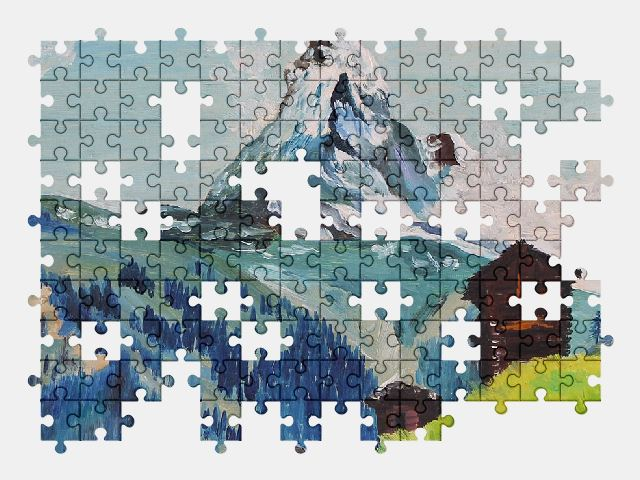 free jigsaw puzzle online mountains,landscape,painting,nature