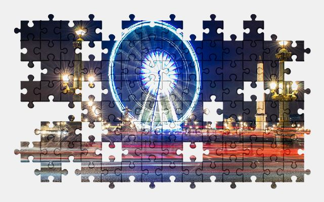 free jigsaw puzzle online paris,france,night,monument,tourism,city,night-city,light
