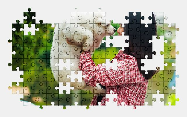 free jigsaw puzzle online pets,dog,girl