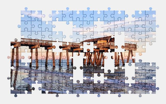 free jigsaw puzzle online pier,beach,ocean,water,nature