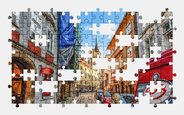 free jigsaw puzzle online prague,sky,city,town,street,architecture