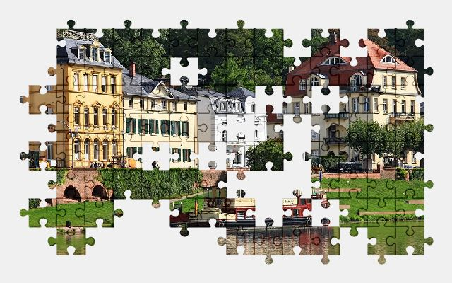 free jigsaw puzzle online city,river,architecture,buildings,germany,ferry