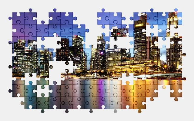 free jigsaw puzzle online singapore,asia,city,buildings,night,night-city