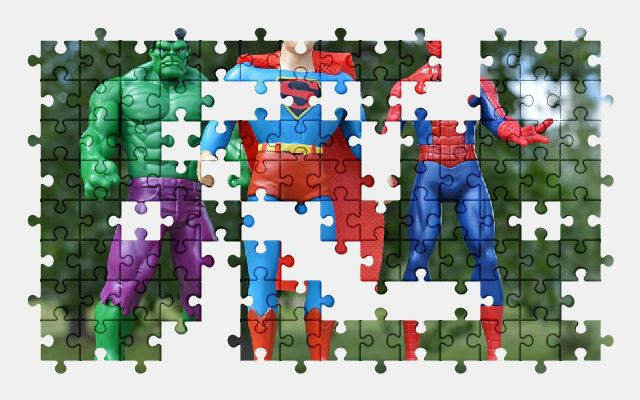 free jigsaw puzzle online superhero,hulk,superman,spiderman