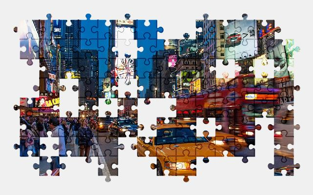 free jigsaw puzzle online new-york,manhattan,taxi,city,street