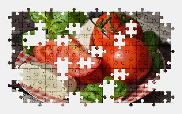free jigsaw puzzle online tomatoes,mozzarella,food,vegetable