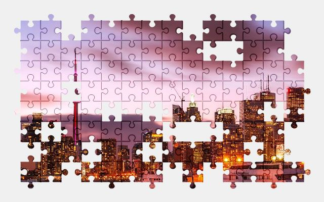 free jigsaw puzzle online toronto,canada,city,plane,buildings