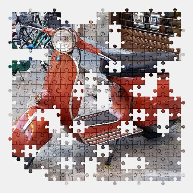 free jigsaw puzzle online vespa,italy,scooter,vintage,italian,vehicle,moped