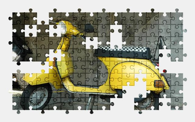 free jigsaw puzzle online vespa,yellow,scooter,vehicle,moped