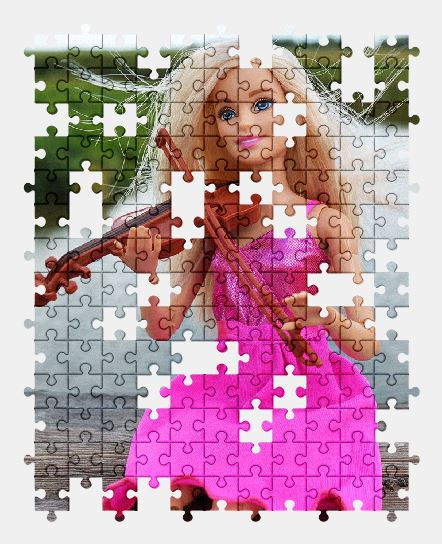 free jigsaw puzzle online violin,barbie,doll,pink,music