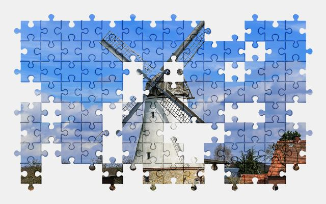 free jigsaw puzzle online windmill,sky,nature